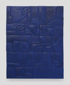 SADIE BENNING Blue Monochrome, 2014  Medite, aqua resin and casein 49 × 37 1/8 in 124.5 × 94.3 cm Callicoon Fine Arts