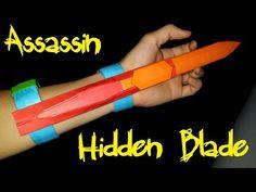 How to make a Assassins Creed Hidden Blade using Paper Instruções Origami, Origami Paper Folding, Origami Dragon, Paper Crafts Origami, Oragami, Origami Stars, Diy Paper, Paper Claws, Origami Weapons