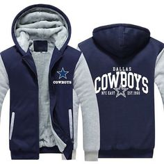 4751e864a724 Men s Blue COWBOYS Winter Warm Fleece Tracksuit Jacket Dallas Hoodie  Sweatshirts