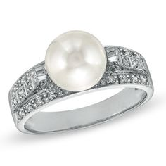 Cultured Freshwater Pearl Ring in 14K White Gold with Diamond Accents