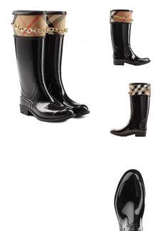 | #Burberry #Shoes  #038; #Accessories #Gummistiefel mit #Zierkette #> #Schwarz #für #Damen