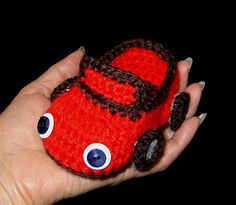 Crocheted Baby Boy convertible sports Car shoes, booties, slippers, house shoes
