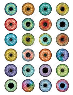 Eyes Digital Collage Sheet 20mm 18mm 16mm 14mm 12mm by images4you
