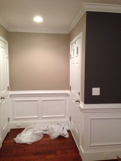 """Hallway color: """"perfect greige"""" by Sherwin Williams. I absolutely can not get enough of this color (and the """"stunning shade"""" color on the other wall.)."""