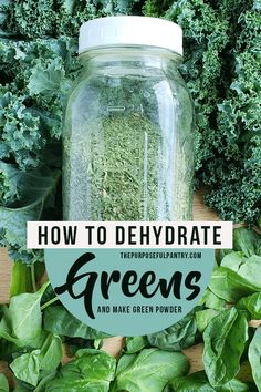 Learn how to dehydrate greens and lettuces and make a power punched green powder to add to your long-term storage. Fill your pantry with green powder! Kale Powder, Green Powder, Fruits Déshydratés, Fruits And Veggies, Dehydrated Vegetables, Dehydrated Food, Do It Yourself Food, Mustard Greens, Dehydrator Recipes