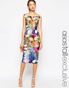 0f2f8d47338c asos wedding bardot floral off shoulder pencil dress