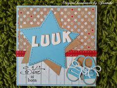 Babykaart met ster en babyschoentjes