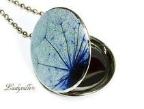 ♥Foto Medaillon - Pusteblume Schwarz zu Blau♥