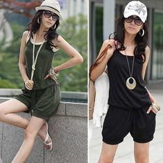 Fashion Women Halter Sleeveless Strappy Solid Casual Jumpsuit Rompers Overall Sportswear S Coffee Green Black Free Shipping 0050 US $9.28
