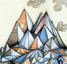 Pale blue and orange in this really fun mountain design!