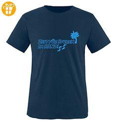 Comedy Shirts - ZEIT FÜR SPUREN IM SAND - PALME - Jungen T-Shirt - Navy / Blau Gr. 152-164 - Shirts mit spruch (*Partner-Link)