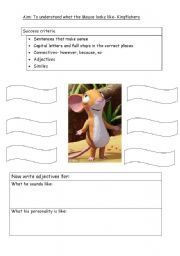 English worksheet: Describe the mouse from the Gruffalo English Lessons For Kids, Esl Lessons, Reading Worksheets, Vocabulary Worksheets, The Gruffalo Song, Teaching Kids, Kids Learning, Describing Words, Esl Lesson Plans
