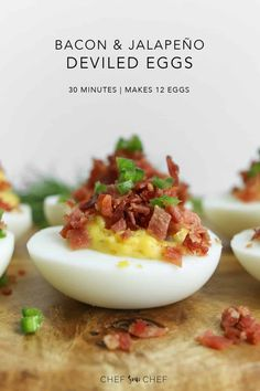 Our deviled eggs with bacon and jalapeño combined with mayonnaise adds to the tanginess of the yolk and when paired with the saltiness of bacon crumble, it's a dynamic duo no one can resists. Spicy Recipes, Real Food Recipes, Easy Recipes, Yummy Food, Appetizers For Party, Appetizer Recipes, Catering Recipes, Jalapeno Deviled Eggs, Stuffed Jalapenos With Bacon