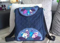 Recycle Jeans / Denim Backpack Patchwork Tutorial.  Sew Denim backpack. - 1 of 3