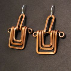 Copper Earrings  Three Square   Handmade   copper by jamiespinello, $22.00