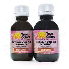 Betume Color Ecológico Contém: 100 ml. Características: Betume em gel solúvel em água, formulado especialmente para proporcionar efeitos especiais de envelhecimento. Totalmente atóxico, inodoro, não contém solventes ou resíduos de petróleo. Aplicação: Madeira, MDF, gesso, cerâmica, isopor, cortiça, EVA e papel. Fabricante: True Colors