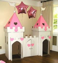 Cardboard playhouse plans Free cardboard playhouse plans for making an amazingly sturdy playhouse for toddlers using mostly free materials Complete instructions Cardboard Box Crafts, Cardboard Castle, Cardboard Playhouse, Castle Playhouse, Princess Playhouse, Cardboard Box Houses, Diy For Kids, Crafts For Kids, Carton Diy