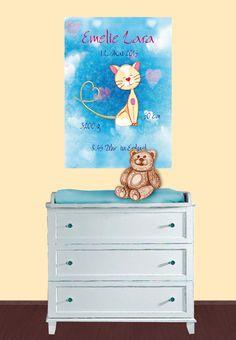 Kinderposter: Geburtsanzeige - Kätzchen blau - Mein Posterladen - DaWanda