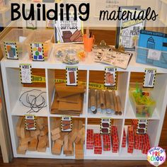 Building materials for a Construction site dramatic play perfect for preschool, pre-k, and kindergarten. #constructiontheme #preschool #prek #dramaticplay