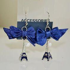 Blue Eiffel Tower Fashion Earrings. So cute! <3