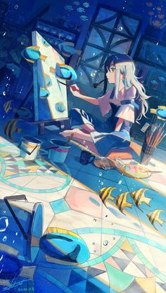 Anime Backgrounds Wallpapers, Anime Scenery Wallpaper, Animes Wallpapers, Anime Art Girl, Manga Art, Aesthetic Art, Aesthetic Anime, Yuumei Art, Illustration Pop Art
