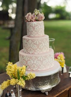 2013 wedding cakes   -stencil-wedding-cake-beach-weddings-silver-cake-stand-vintage-cake ...