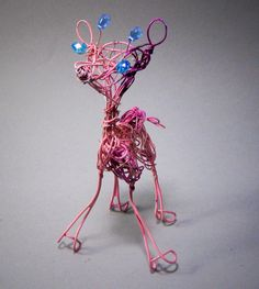 Pink Giraffe Whimsical Wire Art Baby Animal by WireArtInk on Etsy, $20.00