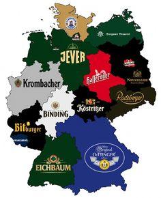 De bierkaart van Duitsland, zeer praktisch wanneer je de regio waar je je vakantiehuisje gaat huren zoekt! #Duitsland #vakantie #vakantiehuis #bierkaart