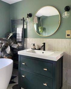 Green Bathroom Paint, Bathroom Wall Colors, Warm Bathroom, Small Bathroom Interior, Beige Bathroom, Downstairs Bathroom, Bathroom With Tile Walls, Round Bathroom Mirror, Small Bathroom Designs