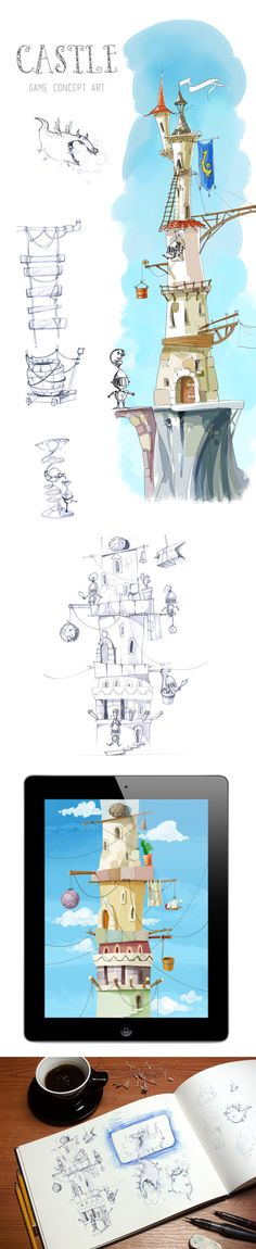 Castle: Game concept art by Just Games, via Behance