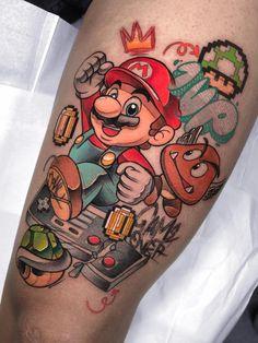 90s Tattoos, Gamer Tattoos, Badass Tattoos, Anime Tattoos, Cute Tattoos, Hand Tattoos, Small Tattoos, Sleeve Tattoos, Tattoo Ink