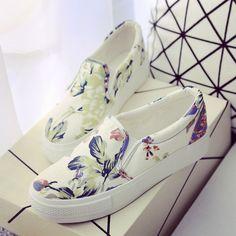 Primavera y otoño zapatos de mujer zapatos de lona del doodle de los zapatos bajos pedal zapatos de plataforma perezosos ocasionales del algodón hecho a