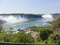 American Falls on the left and Niagara Falls