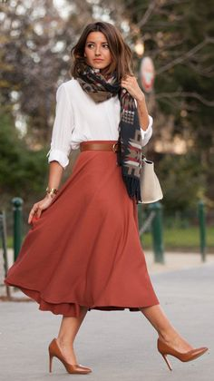 Street Style, March 2015: Alexandra Pereira is wearing an aztec print Asos scarf with a H&M maxi skirt and mango heels