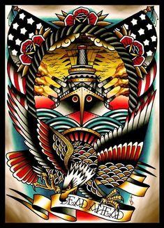 Dead Ahead Canvas Giclee by Tyler Bredeweg American Traditional Nautical Tattoo Traditional Tattoo Canvas, Traditional Nautical Tattoo, Traditional Tattoo Design, Traditional Tattoo Flash, Stretched Canvas Prints, Canvas Art Prints, Fine Art Prints, Naval Tattoos, Tatuagem Old Scholl