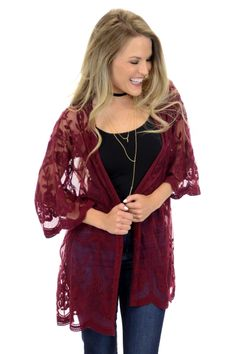 Burgundy Lace Kimono :: CARDIGANS & SWEATERS :: Tops :: The Blue Door Boutique