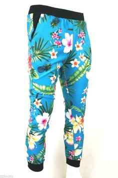 KAYDEN K sublimation print jogger pants Tropica flowers in LT Blue S - XL #KAYDENK #JOGGER