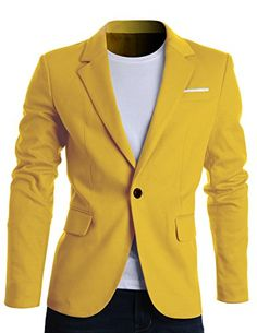 FLATSEVEN Mens Slim Fit Casual Premium Blazer Jacket Yellow, XL (Chest 44) FLATSEVEN http://www.amazon.com/dp/B00VRSHJ3K/ref=cm_sw_r_pi_dp_y5hLwb1STVFTT