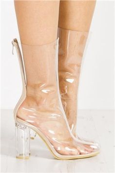 Miss Pap - Cleo Nude Perspex Heel Ankle Boots - https://clickmylook.com/product/cleo-nude-perspex-heel-ankle-boots/5176384