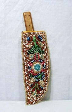 Iroquois Beaded Knife Sheath---c. 1900. Includes vintage Trade Knife