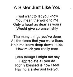Sister To Sister Poems