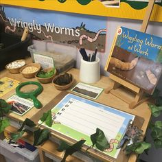 EYFS investigation area - worms - superworm by Julia Donaldson Eyfs Activities, Nursery Activities, Small Group Activities, Science Activities, Preschool Letters, Preschool Class, Classroom Displays, Classroom Themes, Discovery Area Eyfs