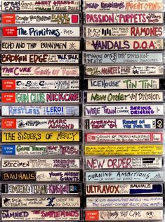 I adore these images of cassette tape spines lovingly labeled and decorated from the caveman days. I don't miss cassette tapes at all, but the bespoke folk art aspect of these is kind of funky fresh, you have to admit… Via Boing Boing Rock And Roll, Dark Wave, Arte Punk, Punk Art, Echo And The Bunnymen, 80s Aesthetic, Little Bit, Lost Art, Mixtape