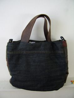 denim and leather bag, recycled leather bag, recycled denim bag, brown leather bag, green leather bag, denim tote bag, man bag,ella bag. $55.00, via Etsy.
