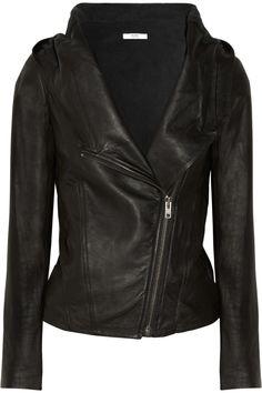 Helmut Lang hooded washed-leather jacket