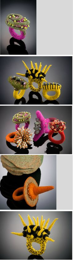amazingly creative felt rings with beads Textile Jewelry, Fabric Jewelry, Jewelry Art, Jewellery, Felted Jewelry, Felt Fabric, Fabric Art, Nuno Felting, Needle Felting