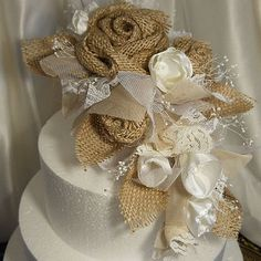 Burlap & Lace Cascade Cake Topper Flower Pick, handmade, one of a kind and ready to ship.