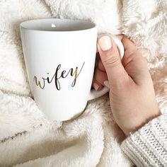 Love our Wifey apparel? Then you need our Wifey Mug to complete your collection. Sip your favorite tea, coffee or even hot coco with our gold printed Wifey mug. Perfect as a gift too! Perfect Wedding, Our Wedding, Wedding Gifts, Dream Wedding, Wedding Favors, Wedding Invitations, Camo Wedding, Wedding 2017, Bridal Gifts