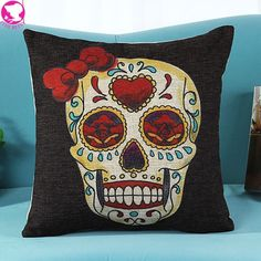 Want skull tops, hoodies, leggings and more 40*41cm Halloween... add to any wardrobe http://rebelstreetclothing.com/products/40-41cm-halloween-mexican-sugar-linen-cushion-rose-skull-printed-for-decorative-cotton-pillow-throw-pillow-couch