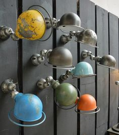 How amazing this Industrial Jielde Wall! Love the different colors, all vintage ones, perfect look! Industrial Lighting, Vintage Lighting, Cool Lighting, Lighting Design, Industrial Office, Industrial Interiors, Vintage Industrial, Modern Industrial, Industrial Design